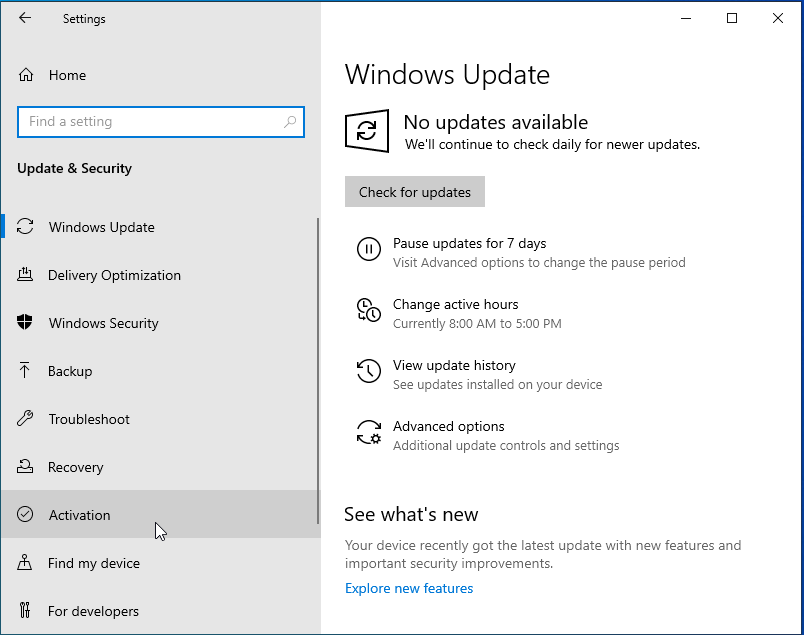 Activate Windows - Windows Update