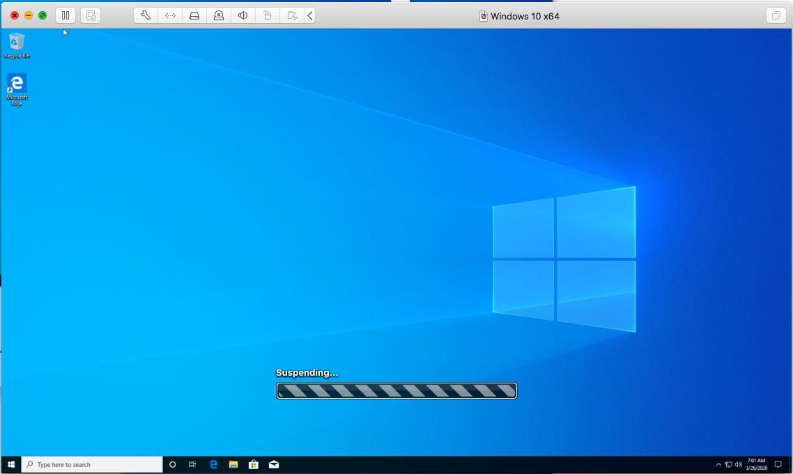 Windows - VMware Fusion - Suspend