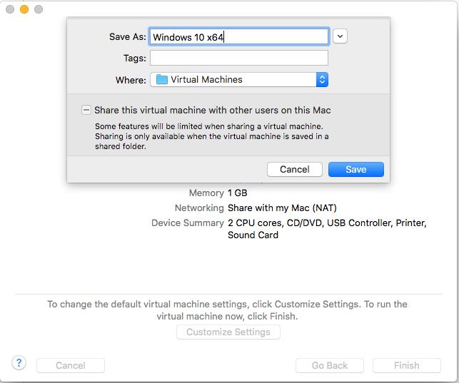 Windows - VMware Fusion - Customize