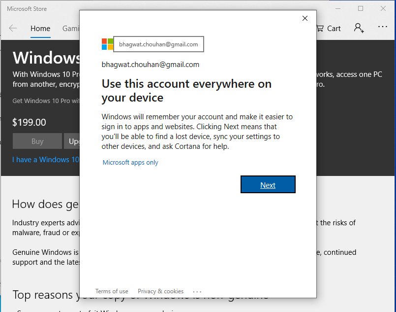 Activate Windows - Account On Device