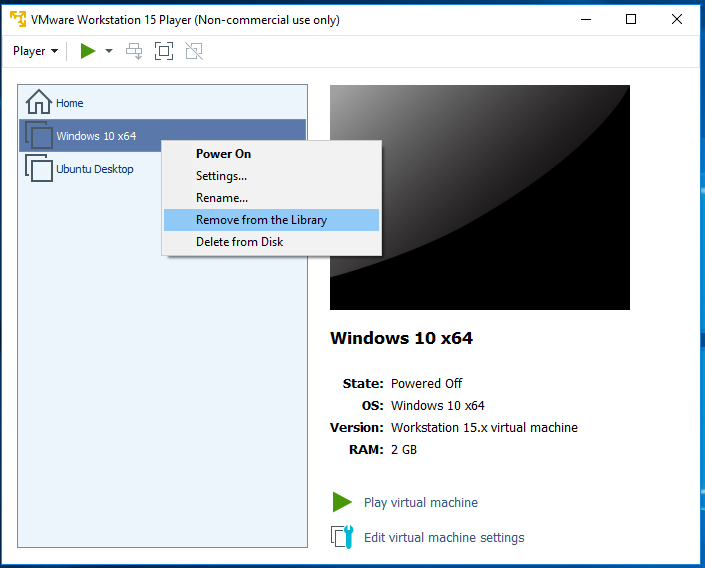 VMware Workstation Player - Remove Virtual Machine