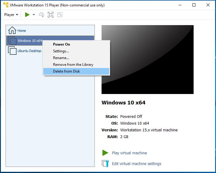 VMware Workstation Player - Delete Virtual Machine