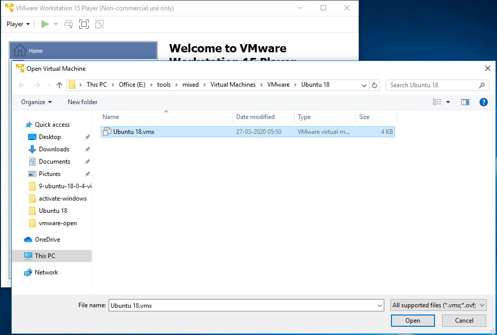 VMware Workstation Player - Open Virtual Machine