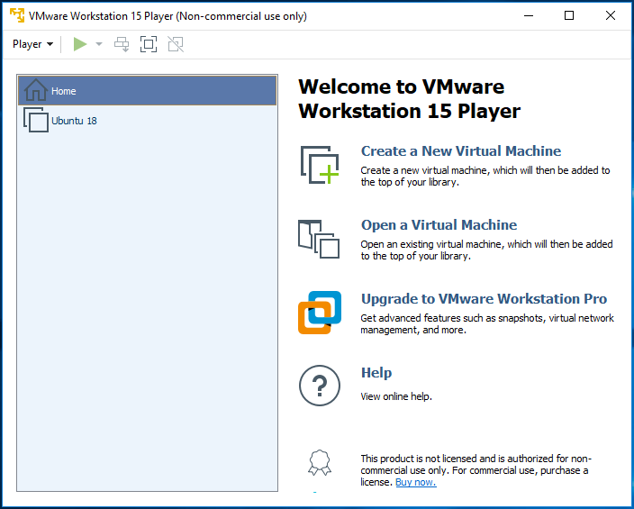 VMware Workstation Player - Virtual Machine Library