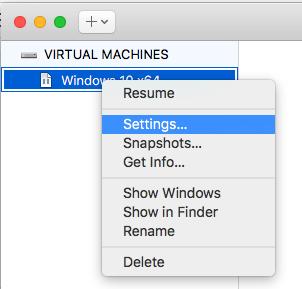 Windows - VMware Fusion - Settings