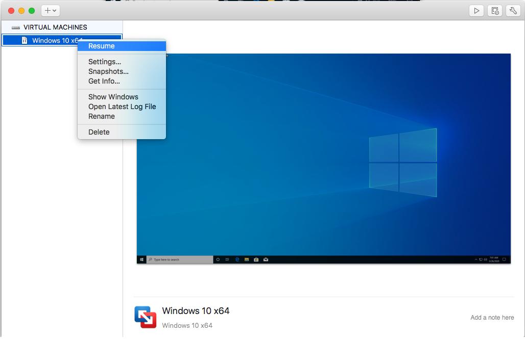 Windows - VMware Fusion - Resume