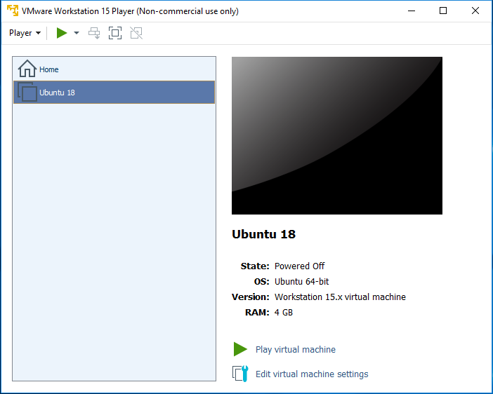 VMware Workstation Player - Play Virtual Machine