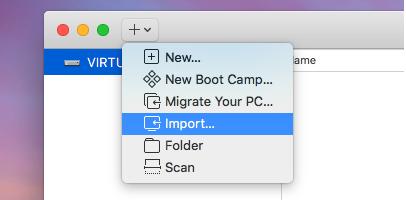 VMware Fusion - Import