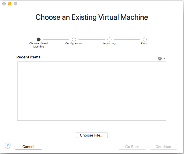 VMware Fusion - Import Virtual Machine - Choose