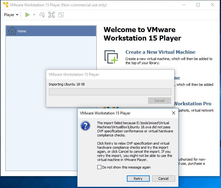 VMware Workstation Player - Import - Progress