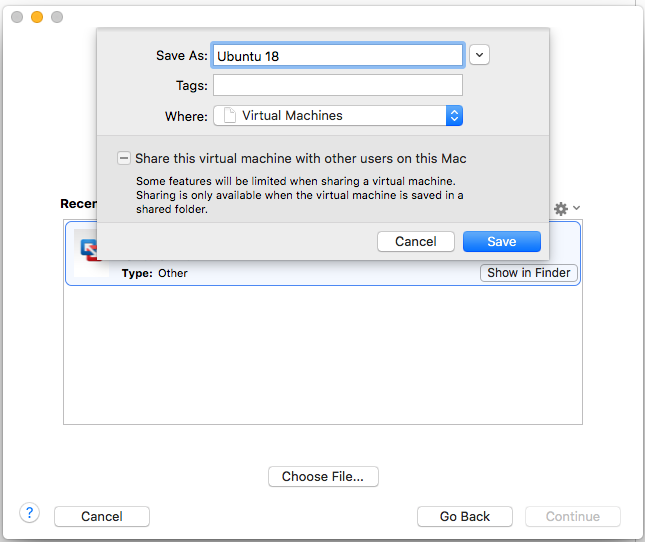 VMware Fusion - Import Virtual Machine - Save