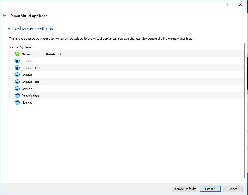 VirtualBox - Export - Profile
