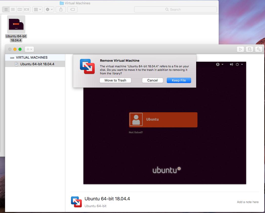 VMware Fusion - Delete