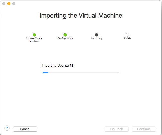 VMware Fusion - Import Virtual Machine - Progress