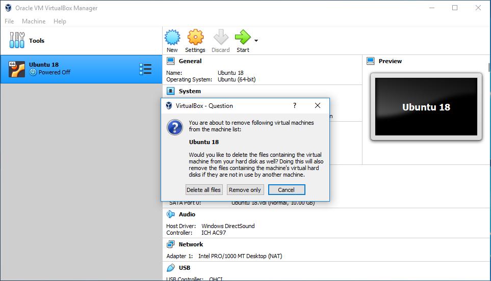 VirtualBox Remove