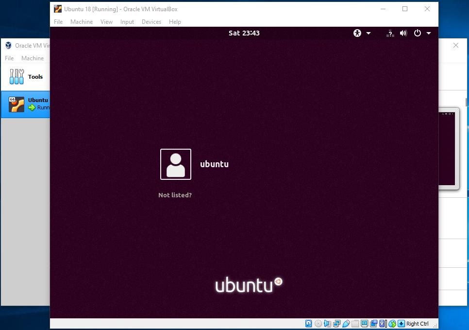 VirtualBox Login