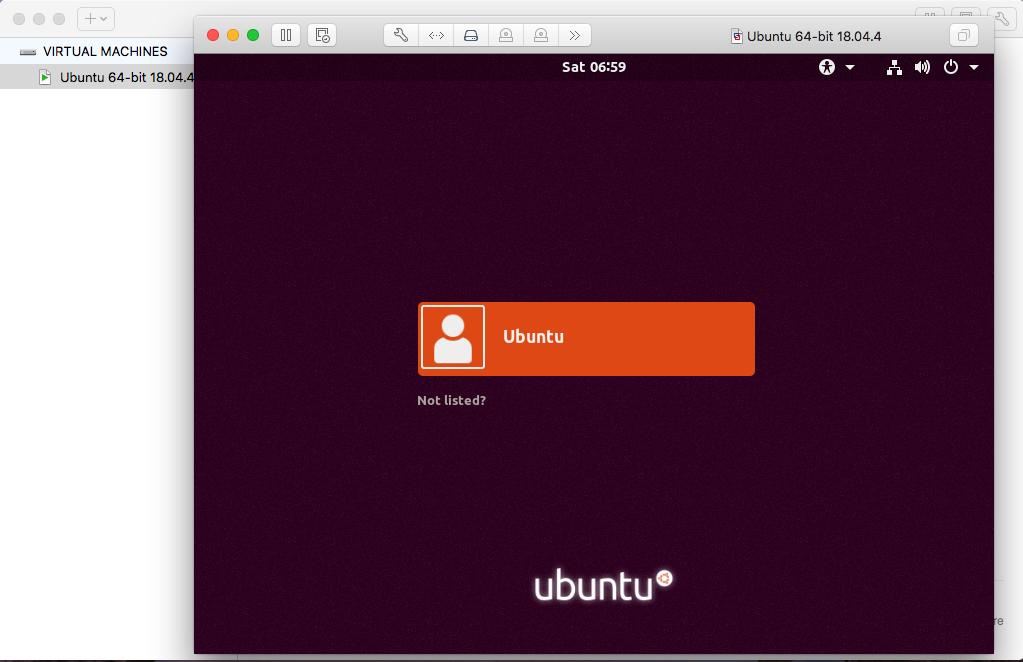 Ubuntu On VMware Fusion - Login