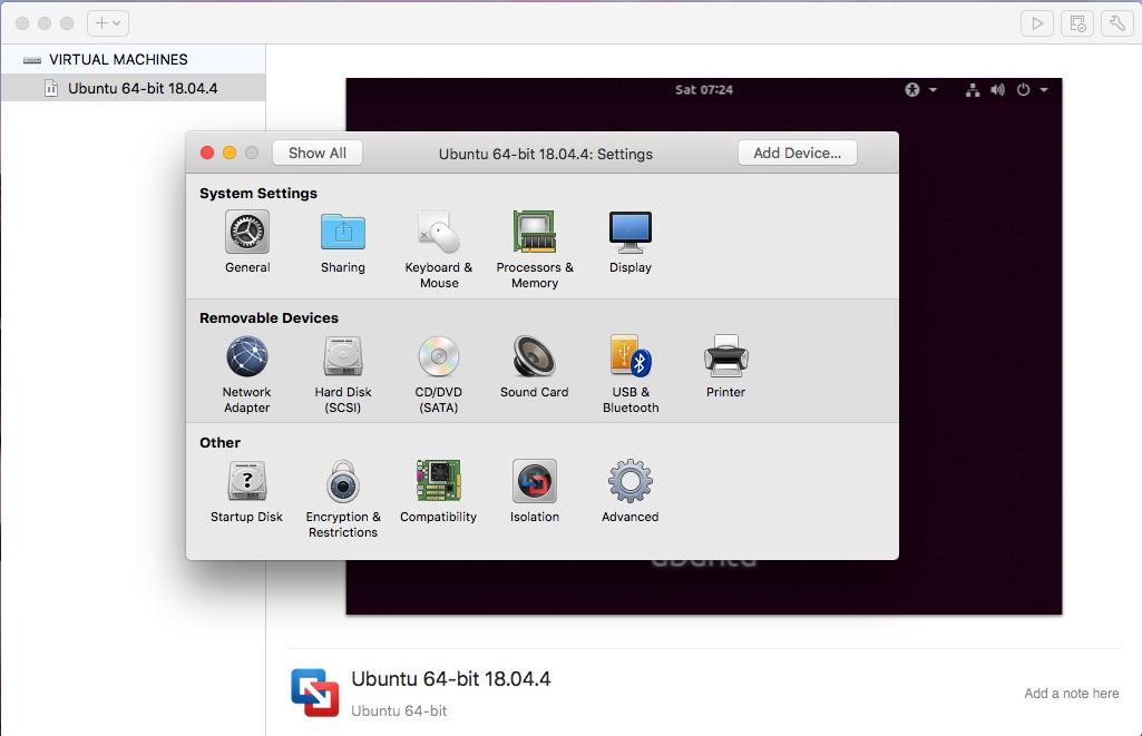 Ubuntu On VMware Fusion - Settings