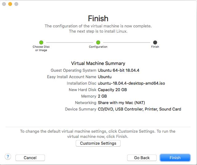 Ubuntu On VMware Fusion - VM Config