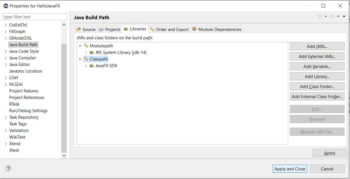 JavaFX SDK - Eclipse - Classpath