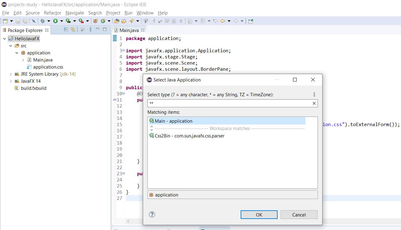 JavaFX - Eclipse - Main Class
