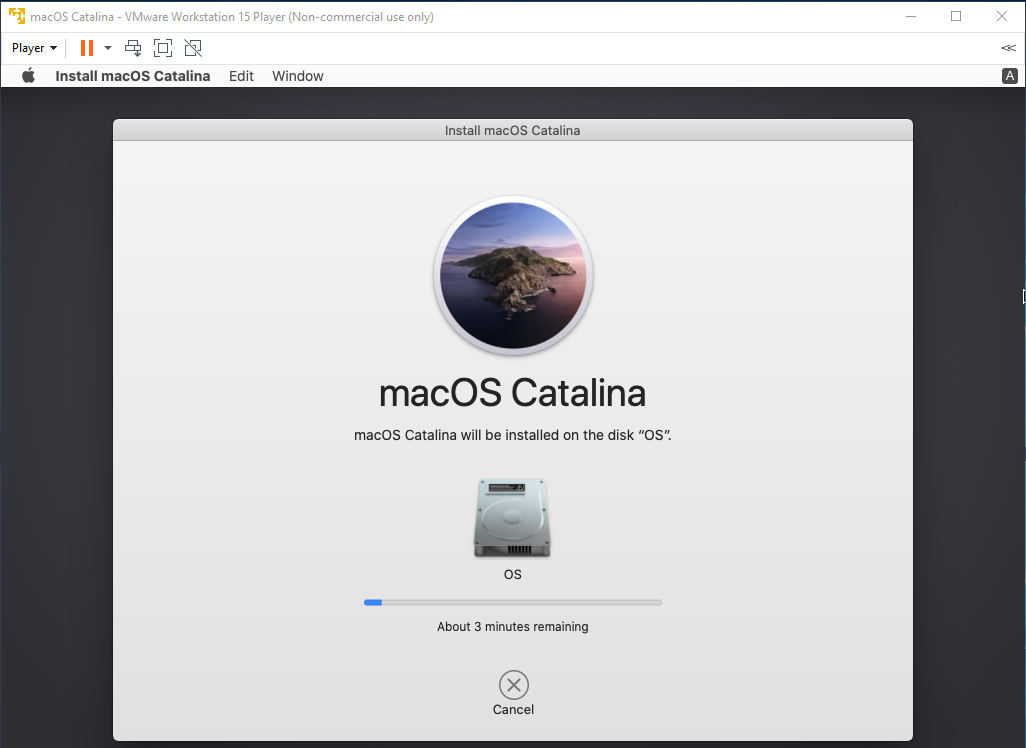 macOS - VMware - Installation Progress