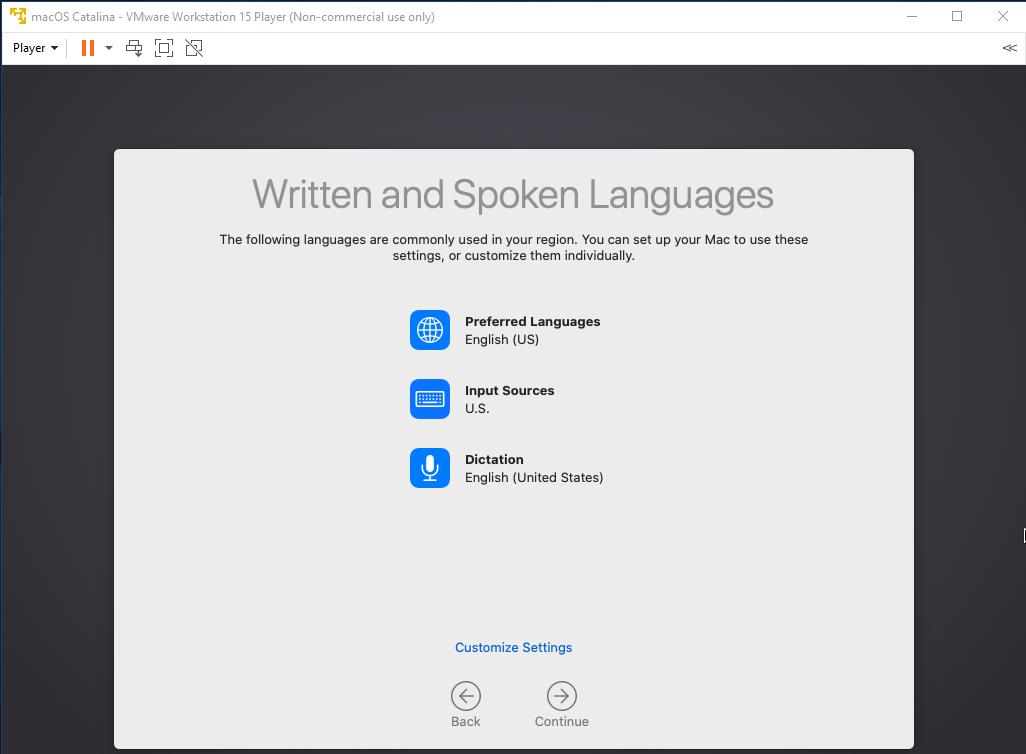 macOS - VMware - Setup