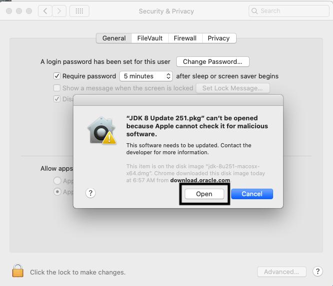 Java 8 - Mac - Permission
