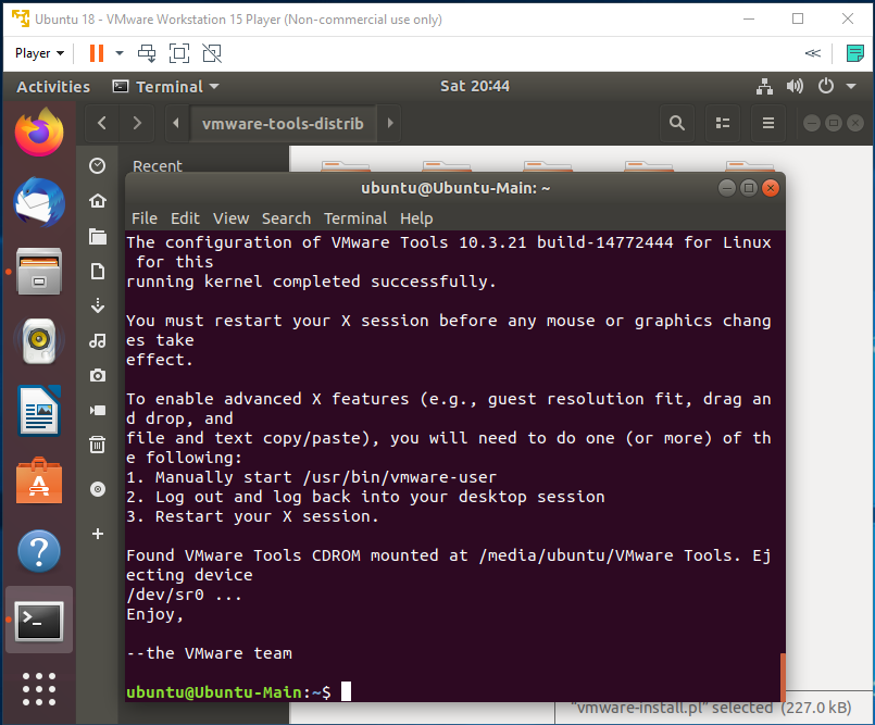 VMware Tools - Ubuntu - Installed