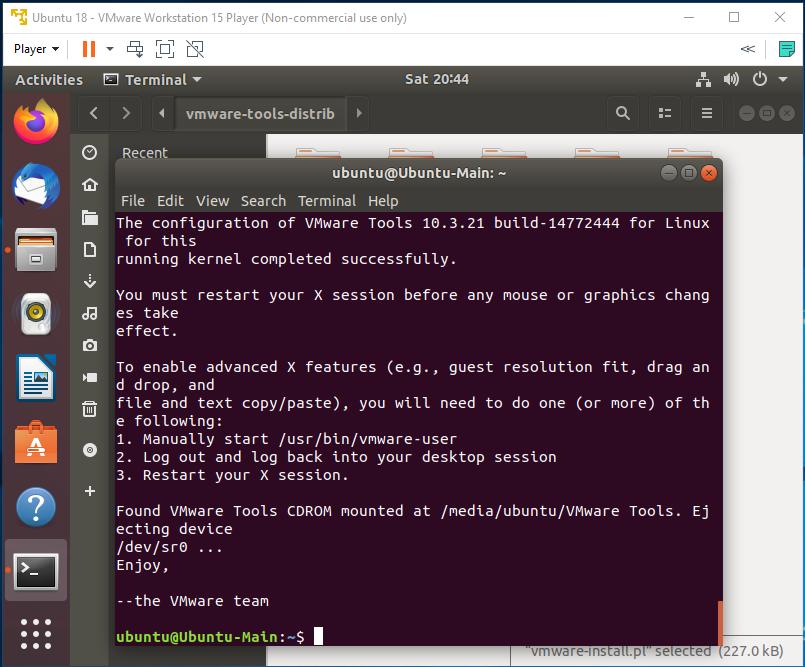 VMware Tools - Ubuntu - Installed