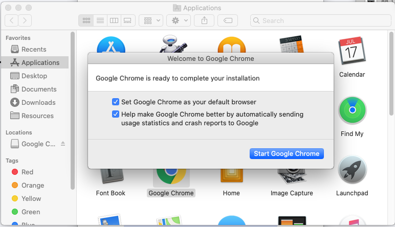 Google Chrome - Mac - Configure