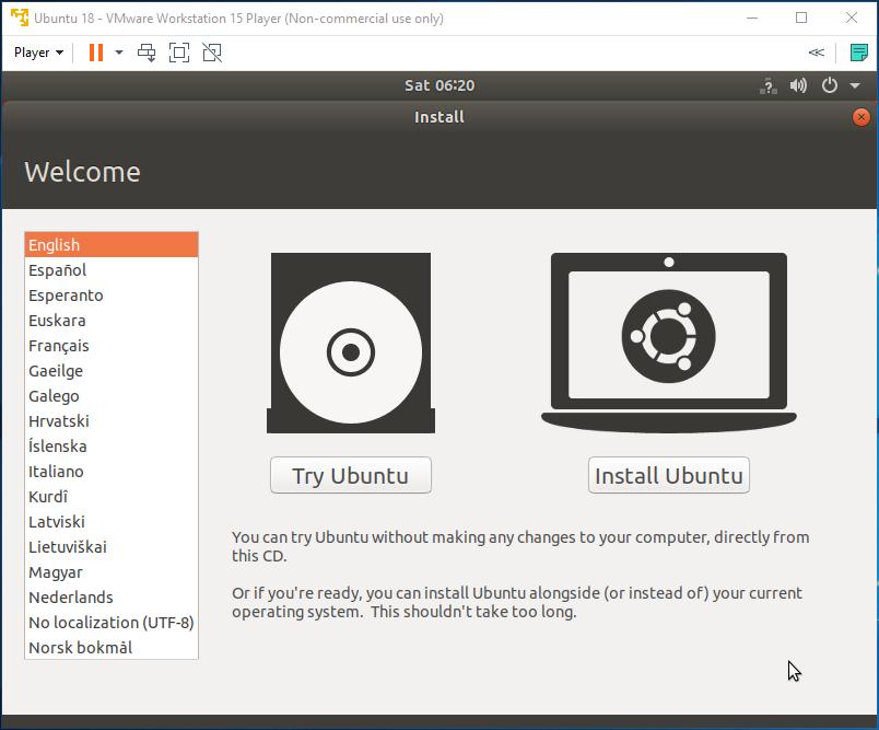 Ubuntu - VMware - Language