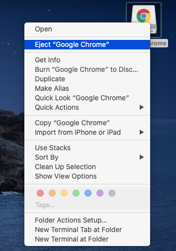 Google Chrome - Mac - Unmount