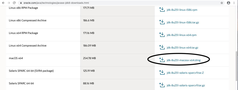Java 8 - Mac - Download Options