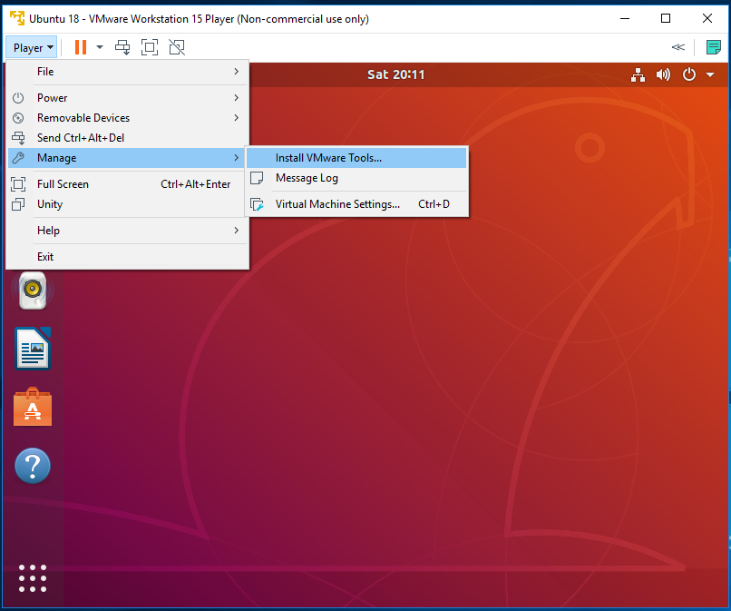 VMware Tools - Ubuntu - Mount DVD