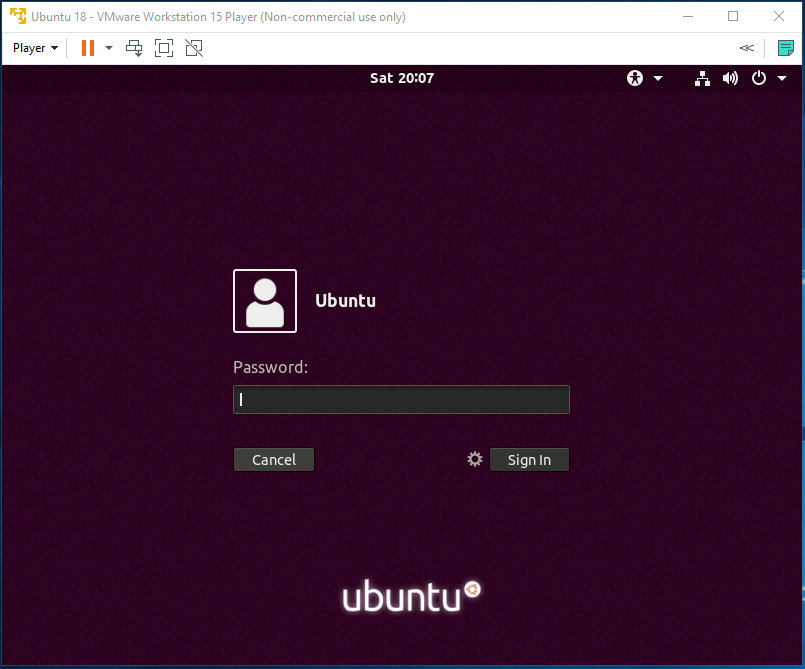 Ubuntu - VMware - Login