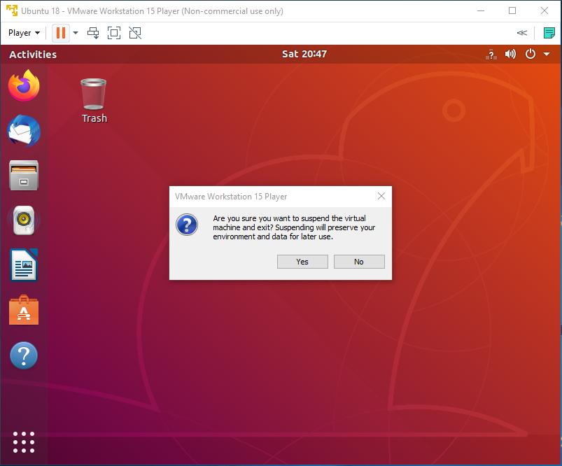 Ubuntu - VMware - Suspend