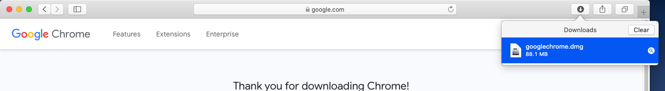 Google Chrome - Mac - Downloaded