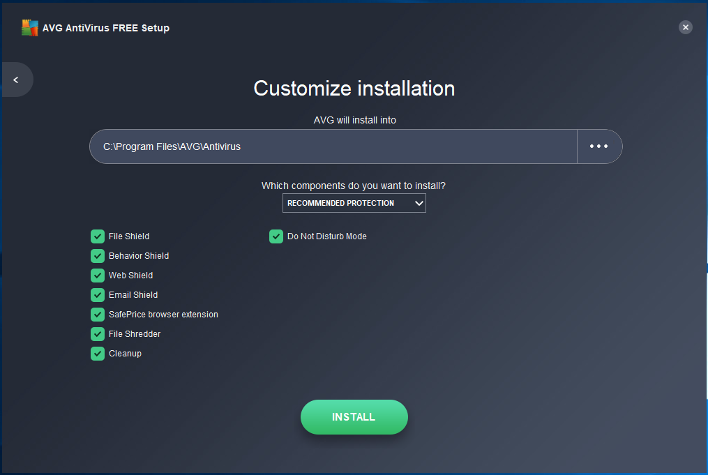 AVG - Install - Customize Screen