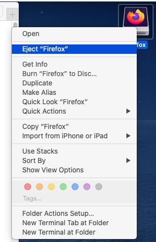 Mozilla Firefox - Mac - Unmount
