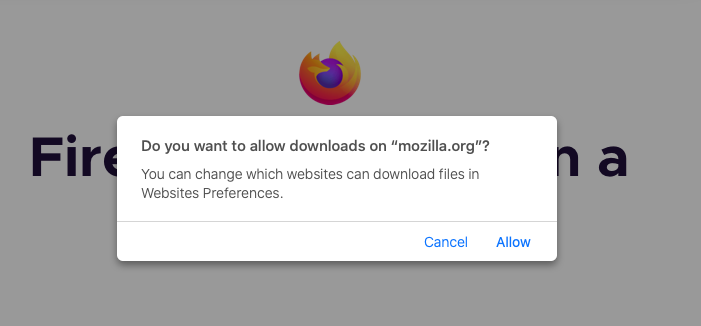 Mozilla Firefox - Mac - Permission