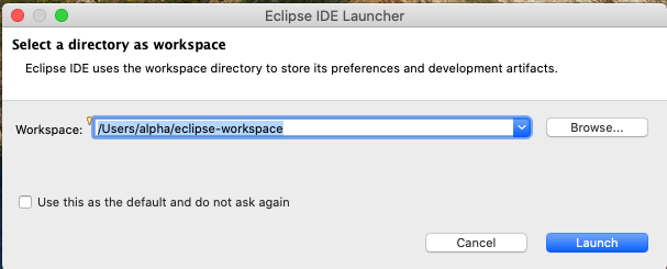 Eclipse for Java - Mac - Workspace