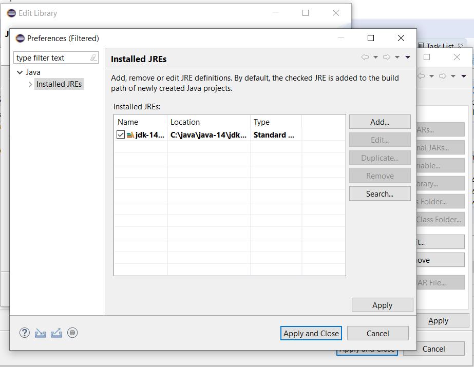 Eclipse - Java - Installed JREs