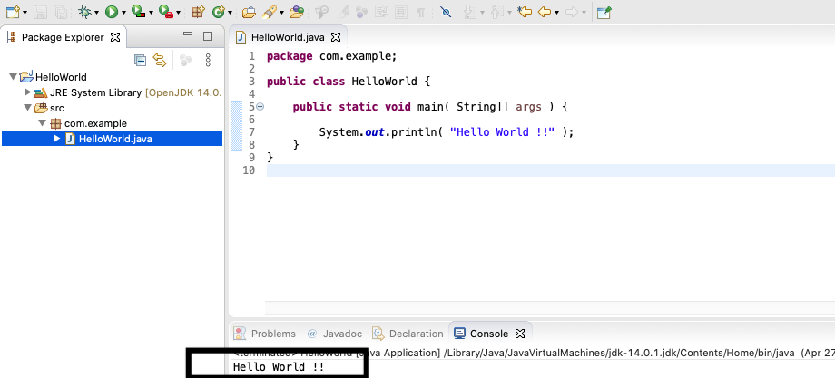 Eclipse for Java - Mac - Output