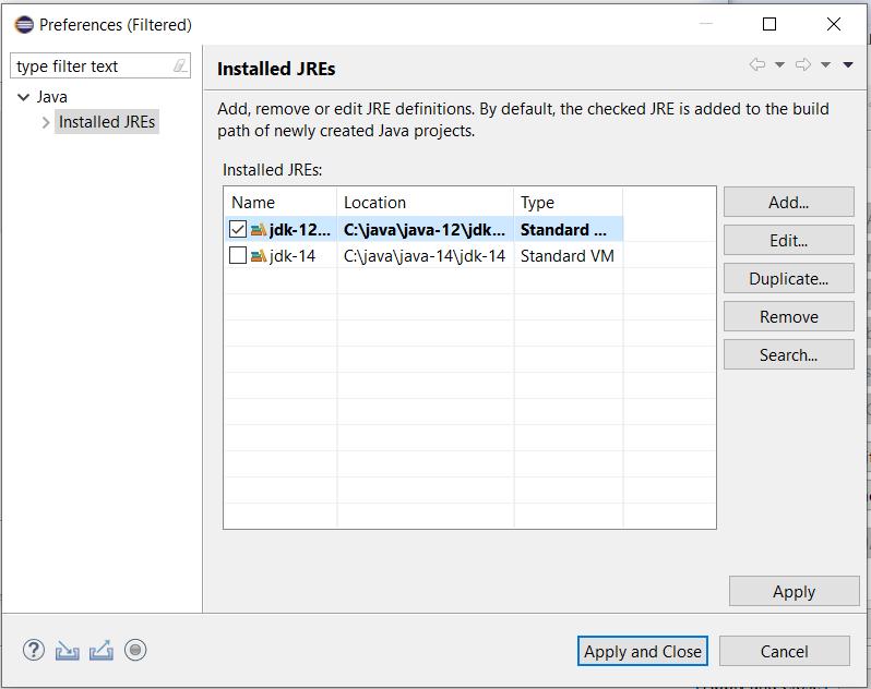 Eclipse - Java - Choose JRE