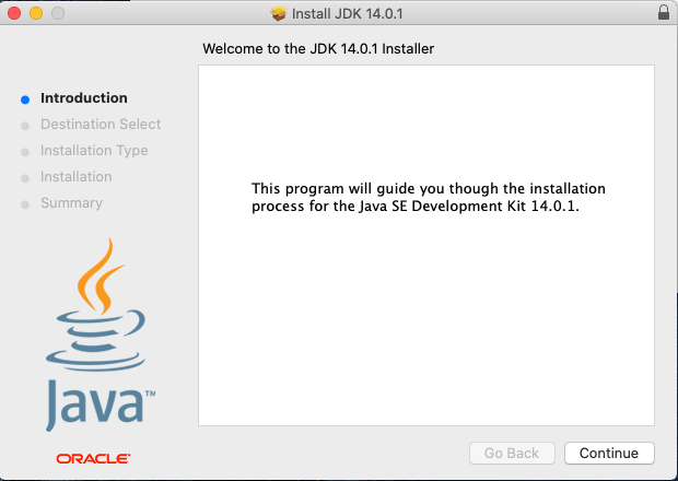 Java 14 - Mac - Install - Welcome