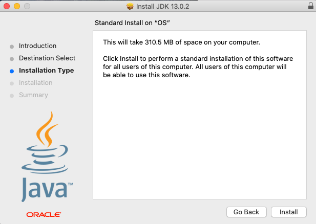 Java 13 - Mac - Install - Type