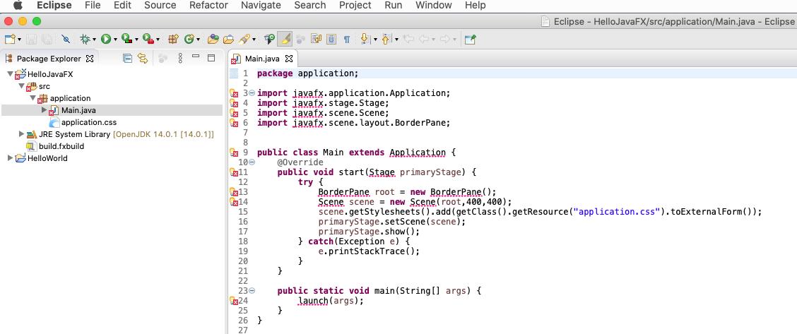 JavaFX - Eclipse - Import Errors