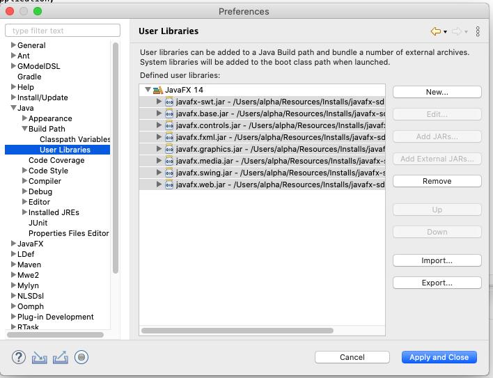 JavaFX - Eclipse - Library Jars