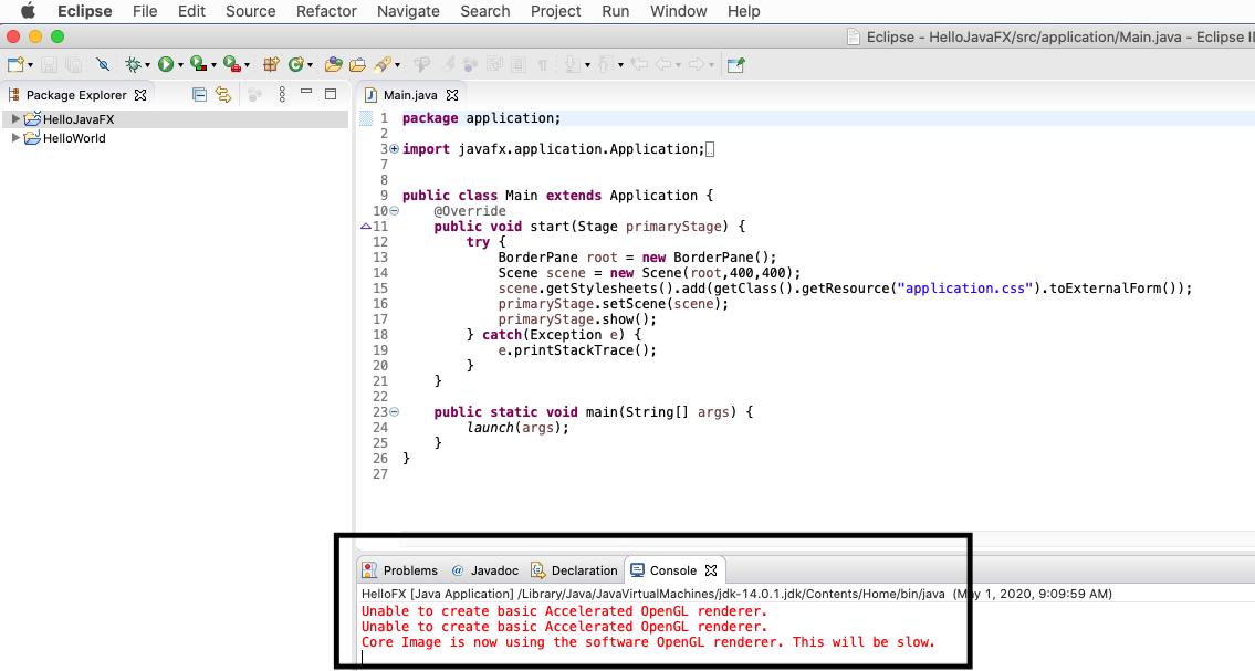 JavaFX - Eclipse - Render Error